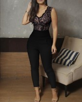 Black Sleeveless Lace Upper Formal Jumpsuit