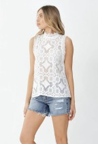 Zomer wit kanten mouwloos elegant overhemd