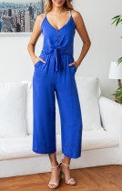Summer Solid Color Straps Knot Jumpsuit