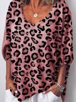 Camicia allentata con scollo av stampa leopardo casual