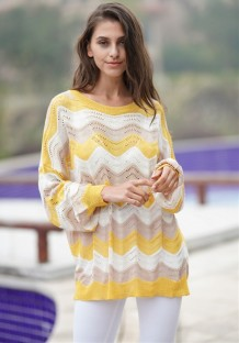 Western Wavy Stripes Long Sweater with Bat Sleeves