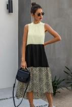 Summer Contrast Sleeveless A-line Long Dress