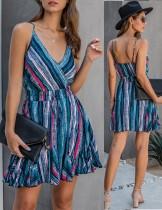 Correas de verano vestido de una línea de colores