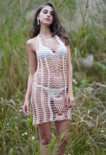 Solid Color Sexy Crochet Halter Cover Ups