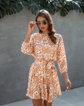Vestido estilo verano con estampado de leopardo y cinturón