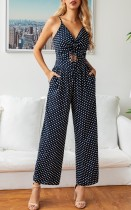 Summer Polka Dot Straps Casual Jumpsuit