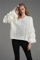 V-Neck Tassels Pullover Sweater
