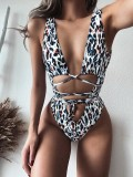 Sexy Print Deep-V One Piece Swimwear