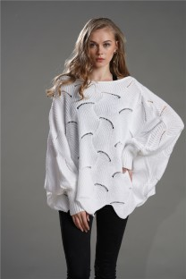 Bat Sleeves Hollow Out Pullover Sweater