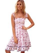 Yaz Yüksek Bel Çiçek Sapanlar Uzun Elbise