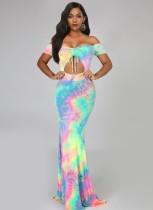 Sexy Tie Dye Trägerloses Meerjungfrau Abendkleid