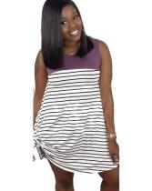 夏のストライププリントノースリーブシャツドレス