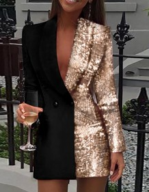 Gold and Black Sequins Long Sleeve Blazer Dress