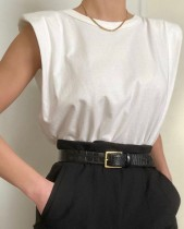 Camisa de algodón con cuello redondo de verano estilo callejero occidental