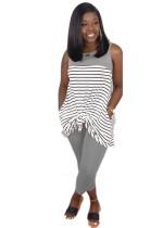 Sommer Striped Print Shirt und Hosen Set