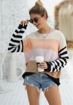 Lässiger O-Neck Contrast Loose Sweater