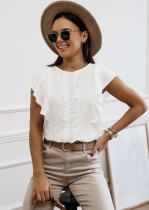 Summer Solid Color Ruffle Shirt