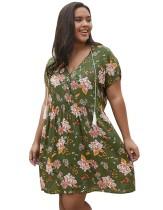 Plus Size Summer Floral Short Dress