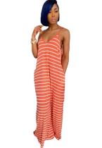 Robe maxi longue dos nu à rayures d'été