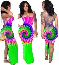 Vestido largo sexy con efecto halter con efecto tie dye
