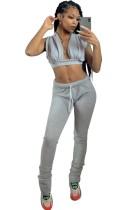 Conjunto de calças de duas peças cinza sexy verão
