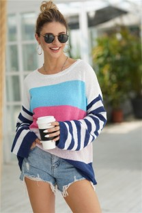 Casual O-Neck Contrast Loose Sweater