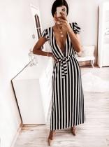 Sexy Deep-V gestreepte lange jurk