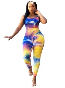 Sexy Tie Dye Straps Bodycon Jumpsuit
