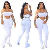 Top sexy bandeau de color sólido y pantalones apilados