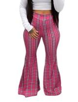 Pantalones acampanados africanos de cintura alta con estampado de cuadros