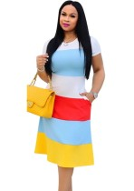 Summer A-Line Contrast Casual Dress