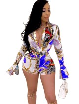 Sexy Print Bodycon Party Rompers with Sleeves