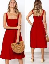 Summer Solid Color A-Linie Träger Langes Kleid