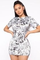 Summer White und Black Print Mini Bodycon Kleid