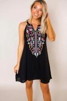 Summer Black Print Bohemian Shirt Dress