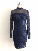 Mini robe de soirée à manches longues bleu paillettes
