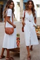 Summer Striped A-Line Long Elegant Dress