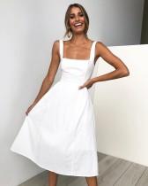 Лето сплошной цвет A-Line Ремни Длинное платье