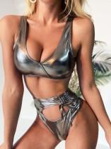 Zweiteilige metallische sexy Badebekleidung mit hoher Taille