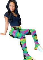Imprimir pantalones africanos de cintura alta apilados
