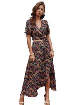 Top corto de verano de dos piezas y falda larga