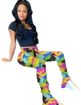 Print African High Waist Stacked Pants