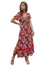 Robe longue fendue à col en V et à fleurs d'été