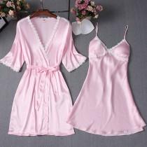 Sexy Satin zweiteiliges Pyjama-Kleiderset
