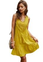 Sommer ärmelloses kurzes Boho-Kleid