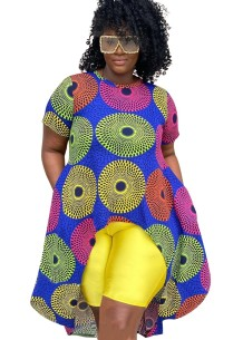 Plus Size African Print High Low Top