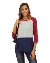Kontrast-O-Neck-Freizeithemd mit 3/4 Ärmeln