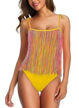 Mom and Daughter One Piece Straps Fringe Swimwear (Mom)