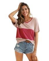 Camisa casual com decote em v e contraste de verão