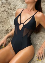 Sexy Black Cut Out One Piece Straps Swimwear